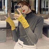 長袖T恤  港風chi高領長袖T恤女韓版緊身打底衫上衣 魔法空間