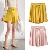 莫代爾短褲女夏季新款高腰寬鬆大碼闊腿褲外穿居家休閒睡褲薄