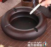 黑檀實木帶蓋煙灰缸歐式木質創意個性潮流大號家用客廳防飛灰中式  魔方數碼館