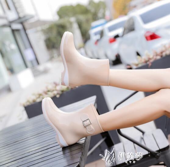 女雨鞋成人雨鞋女中筒韓國可愛時尚款外穿雨靴水鞋防水套鞋膠鞋伊芙莎