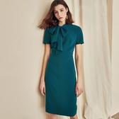 洋裝 職業連身裙氣質系帶知性藍色修身OL包臀裙子 降價兩天
