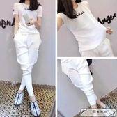 新款韓版時尚休閑運動套裝女春夏季潮學生寬松短袖T恤兩件套