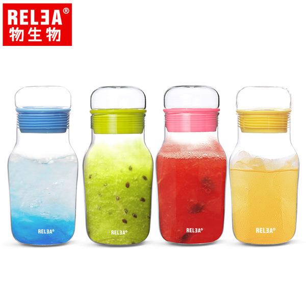 【香港RELEA物生物】320ml艾呆呆耐熱玻璃密封水杯附保溫杯套(共四色)