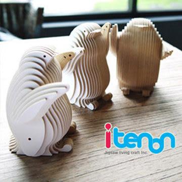 【蘭堂創意】itenon-木作企鵝名片座