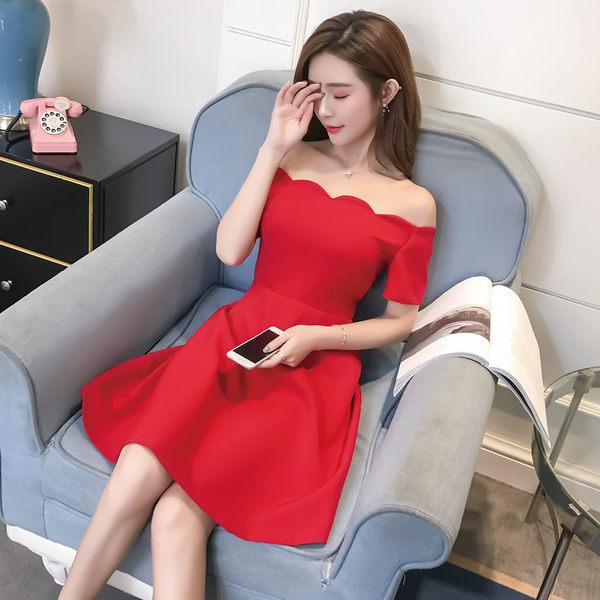 VK旗艦店 韓國風名媛氣質修身波浪一字領短袖洋裝