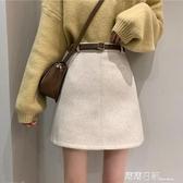 秋冬韓版2020新款高腰顯瘦呢子A字短裙外穿chic后拉鏈半身裙子女 露露日記