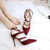 秋季一字扣尖頭鞋子 高跟鞋細跟涼鞋《小師妹》sm166
