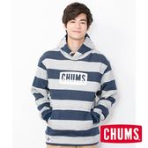 CHUMS  日本 男 Logo 連帽套頭衫 深藍/灰條紋 CH001114N050