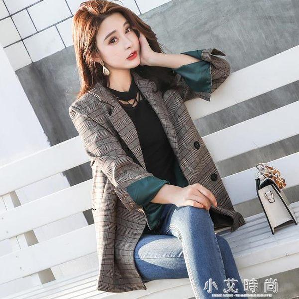 ins格紋西服韓版學生寬鬆復古格子chic小西裝外套女 小艾時尚