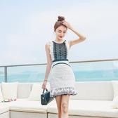 洋裝-無袖荷葉邊蕾絲包臀魚尾女連身裙73pu30【巴黎精品】