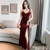 小禮服 2021年新款春秋季夜店性感氣質女裝金絲絨吊帶連身裙打底禮服長裙 曼慕