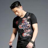 男T恤短袖 韓版潮T 休閒 時尚中國龍印花短袖T恤男修身圓領半袖上衣Twx3508