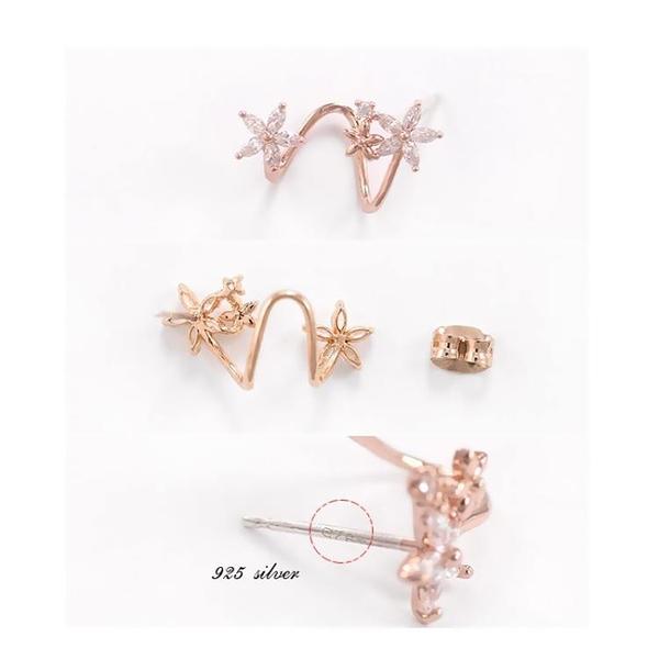 耳釘女時尚氣質弧形韓國甜美個性潮簡約清新短水晶花朵耳環