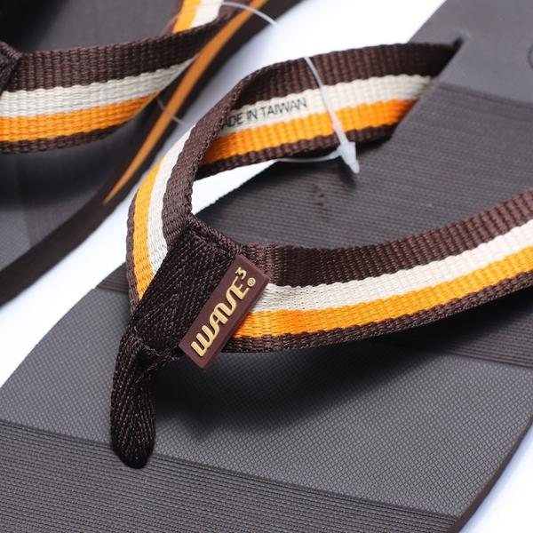 WAVE3  咖啡黃 織布 夾腳拖 拖鞋 男款(布魯克林) 17101102