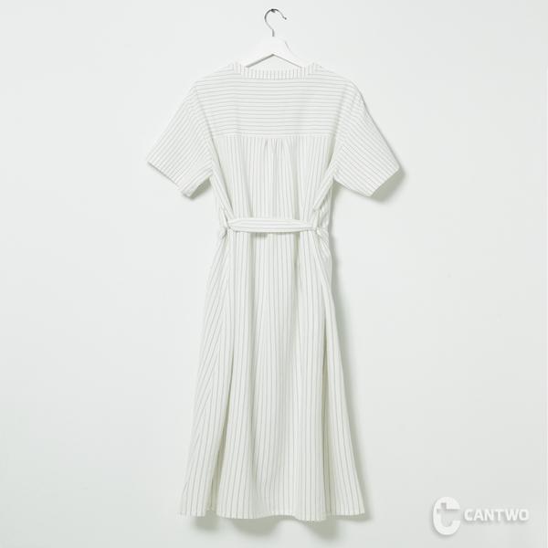 CANTWO綁帶直條紋修身洋裝-共兩色