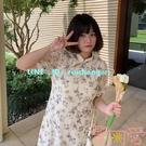 微胖大碼法式旗袍女夏改良版顯瘦開叉碎花連衣裙小清新【聚可愛】