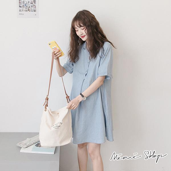 孕婦裝 MIMI別走【P52881】完美清新 翻領襯衫連身裙 開扣哺乳裙 寬襬修飾