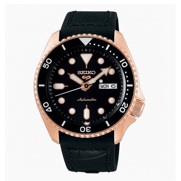 SEIKO 精工 新5號 Sports 系列機械錶4R36-07G0J(SRPD76K1)-黑x玫瑰金