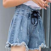 韓版學生高腰百褶裙褲休閒牛仔短褲女夏 奇思妙想屋