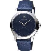 GUCCI古馳 G-TIMELESS 蜜蜂手錶-藍/39mm YA1264032