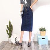 一步窄裙薄中長款大碼牛仔裙彈力顯瘦