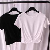 春夏季新品女裝高腰短款漏露臍扭結短袖棉T恤衫 學生小衫打結