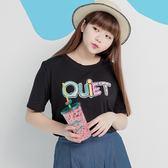 Poly Lulu 彩色英文字母亮片圓領T恤-黑【91010197】