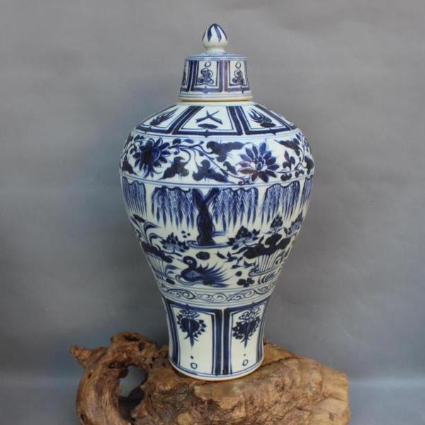 元青花纏枝荷花鴛鴦梅瓶 手工手繪仿古出土老貨瓷器擺件 古董古玩1入
