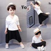男童套裝夏裝2019新款兒童短袖運動裝棉麻1-3歲兩件套5-7韓版 LR4585【原創風館】