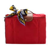 LONGCHAMP經典尼龍摺疊方形手提包(紅色-含帕巾) 480103-3