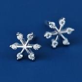 925純銀耳環 鑲鑽(耳針式)-有型雪花生日聖誕節交換禮物女飾品73ag201[巴黎精品]