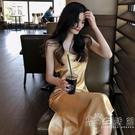 氣質長裙夏季2020新款復古緞面魚尾裙顯瘦修身V領吊帶裙連身裙女 小时光生活館