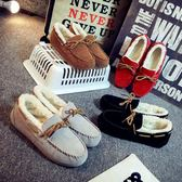 秋冬季新款冬鞋百搭懶人加絨毛毛豆豆女鞋一腳蹬外穿 歐亞時尚