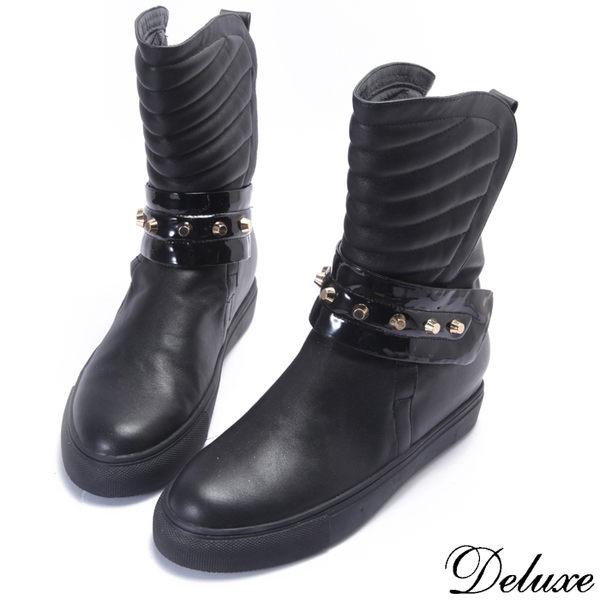 【Deluxe】全真皮時尚名媛風帥氣鉚釘中靴(黑)