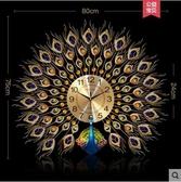 金翠孔雀【80cm-75cm】戀妝客廳鐘錶靜音個性掛錶電子鍾石英鐘歐式時鐘