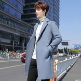 風衣男2019新款呢子韓版修身中長款毛呢大衣青年冬季加厚潮流外套