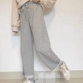 2019秋季新款女裝日系毛邊寬鬆系帶闊腿休閒長褲運動褲顯瘦顯腿長 嬌糖小屋