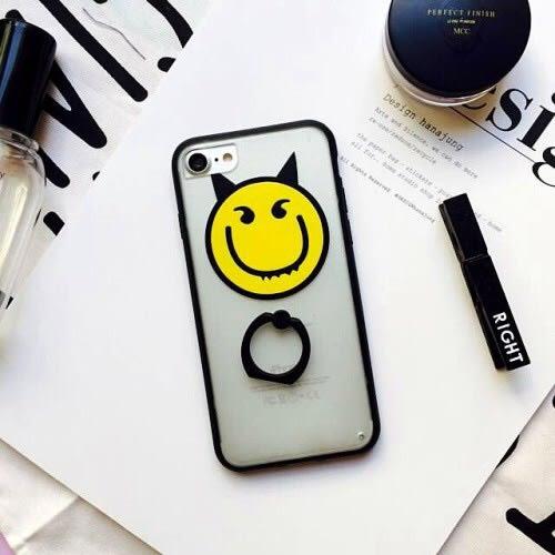 iPhone手機殼 韓國惡魔笑臉 360度指環支架 矽膠軟殼 蘋果iPhone7/iPhone6手機殼