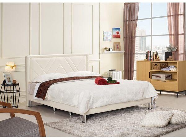 【森可家居】羅莎琳6尺床底(白色皮)(不含床頭片) 7CM155-3 雙人(6x6.2尺)