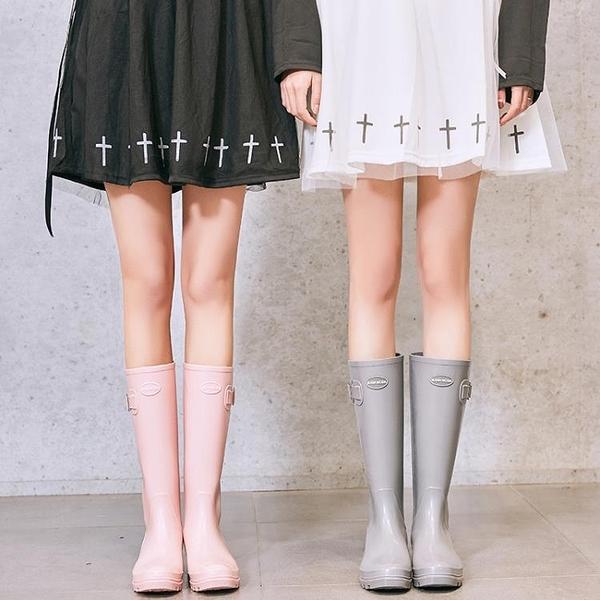 英倫時尚膠鞋水鞋女可愛雨靴成人高筒水靴防滑女士雨鞋 露露日記