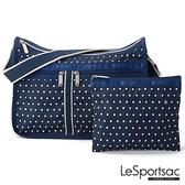 【南紡購物中心】LeSportsac - Standard 雙口袋A4大書包-附化妝包 (藍底白點) 7507P F969