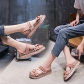 拖鞋女外穿厚底軟妹復古百搭韓范兒兩穿花朵沙灘涼拖鞋 k-shoes