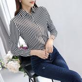 2018春秋季新款韓版修身襯衫女長袖黑白豎條紋襯衣顯瘦打底衫潮