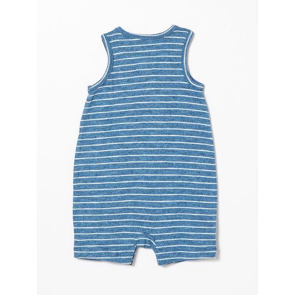 Gap男嬰兒 條紋無袖一件式包屁衣 442330-淺藍色