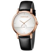 Calvin Klein CK 紳士簡約小秒針皮帶腕錶(K9H2X6C6)43mm