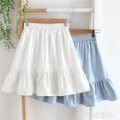 夏季棉麻學生顯瘦百褶半身小短裙女高腰荷葉邊裙防走光a字裙 夏季新品