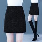 亮絲短裙半身裙女秋冬2020新款高腰彈力顯瘦包臀裙配毛衣一步短裙【快速出貨】
