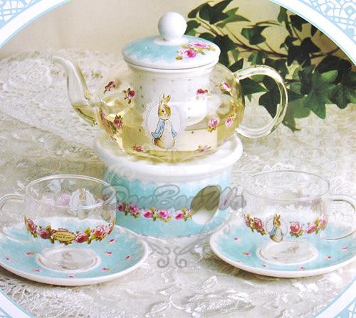 彼得兔陶瓷玻璃花杯子茶壺杯盤5件組209662通販屋