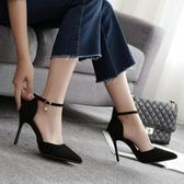 尖頭高跟鞋新款春夏一字扣高跟鞋細跟尖頭黑色百搭女鞋 雲雨尚品