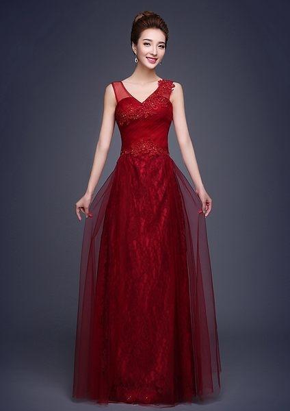 結婚雙肩紅色晚禮服長款修身主持禮服女-pun004